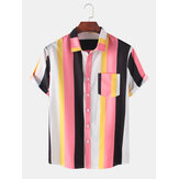Mens Colorful gestreepte praktische Pocker ademende casual shirts