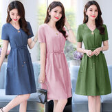 Season New Dress Western Style V-neck Short-sleeved Lacing Waist Slimming Long Section Small Fragrance Wind Skirt Tide