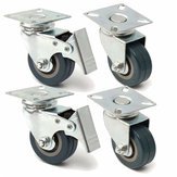 4pcs 50mm Heavy Duty Rubber Swivel Castor Wheels Trolley Caster Brake