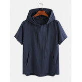 Mens 100% Cotton Drawstring Hooded Short Sleeve Breathable T-shirts