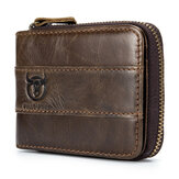 Bullcaptain RFID Antimagnetic Vintage Genuine Leather 11 Card Slots Coin Bag Wallet For Men