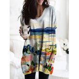 Landscape Print Long Sleeve V-neck Casual Blouse For Women