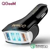 QGEEM QG-CH11 QC 3.0 4 Chargeur de voiture USB Sécurité Hammer LED Indicateur Adaptateur de charge rapide 30W pour iPhone XS 11Pro Mi 9 Note 9S S20 + Note 20
