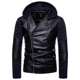 Men Zipper Hooded Pocket Decoration Leather Jacket