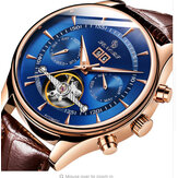 SENORS SN129 Business Style Calendar Waterproof Men Genuine Leather Strap Automatic Mechanical Watch