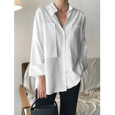 Women Cotton Patchwork Lapel Solid Casual Long Sleeve Button Shirts With Pocket