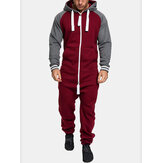 Mens Contrasting Color Zipper Long Raglan Sleeves Hooded Overall Sleepwear Jumpsuit
