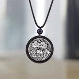 Этническое черное черное ожерелье лотоса Кулон