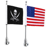 Motorcycle Rear Flag Pole Bike Luggage Rack Mount American Skull USA For Honda