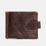 Homens Couro Genuíno RFID 8 slots de cartão Bifold Wallet Purse Zipper Coin Bolsa