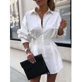 Women Solid Lapel Long Sleeves Tie Waist Casual Shirt Dress