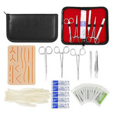 25 In 1 Medical Skin Suture Surgical Training Kit Silicone Pad Needle Scissors