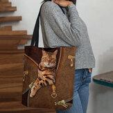 Frauen Leinwand niedlich 3D dreidimensionale Vision Katze Muster Umhängetasche Handtasche Tote