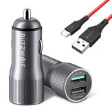 BlitzWolf® BW-SD2 30W QC3.0 Car Charger + BW-TC14 3A USB Type-C Black Cable for iPhone 12 11 XR X for Samsung Galaxy Note S20 ultra Huawei Mate40 OnePlus 8 Pro