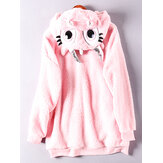 Hooded Solid Color Cute Long Sleeve Sweatshirt With Pocket
