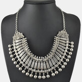 Vintage Metal Carved Necklace Bohemian Ancient Coin Clavicle Chain Women Necklace