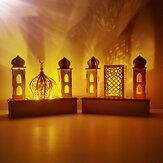 Bricolage LED Eid Mubarak en bois clair Plaque Ramadan Home Party Ornement