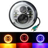 7inch Round Hi/Lo Beam LED Halo Ring DRL Signal Lamp Headlights For Harley/Jeep