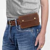 男性本革レトロ6.3インチ電話バッグホルダーウエストベルトバッグ