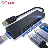 QGEEM QG-UH05-2A 5-in-1 USB A HUB LED Indicator Docking Station Adapter With USB3.0*3 / Memory Card Readers