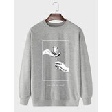 Mens Rose Figure Hand Graphic Cotton Casual Pullover Sweatshirts