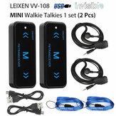 2Pcs V108 Mini Walkie Talkie Two-Way 400-470MHz FM Radio Ricetrasmittente + 2 Cuffie USB Carica