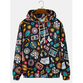Funny Cartoon Print Pocket Drop Shoulder Hoodies For Men