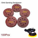100pcs 125mm 8 Holes Abrasive Sand Discs 60-240 Grit Sanding Papers
