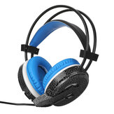 MISDE H6 Gaming Headset 7 Color Breathing Light 3.5mm Wired Head-mounted Earphone Headphone Balck Blue for pc