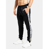 Mens Side Letter Ribbon Cotton Casual Drawstring Elastic Ankle Pants With Pocket