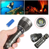 Elfeland T6 2600lm Submarino 80m Dive Light + 1Pcs 5000mAh 26650 LED Juego de linterna de buceo