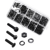 600Pcs Black Carbon Steel 10.9 Grade Hexagon Cap Button Head Flat Head Screw Nuts Assortment Set