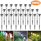 24PCS LED Solar Lawn Path Light Stainless Steel Waterproof Garden Landscape Lamp for Home Street Decor