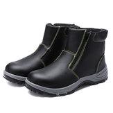 lens Heren Veiligheid stalen neus Antislip ritslaarzen Waterdichte buiten werkschoenen