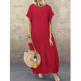 Women Loose Short Sleeve Solid Casual Long Maxi Dress