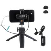 ZGCINE ATOM Kablosuz Yaka Mikrofon Alıcı Kit mini 2.4G Video Kayıt Mikrofon Tripod Kamera DSLR Smartphon için telefon tutucu