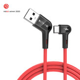 [10 Pack] Blitzwolf® BW-AC1 3A 90°Right Angle USB A to Type-C Data Cable 3ft Reddot Award 2020 for Gaming Phone Huawei P30 P40 Pro Mi10