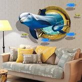 MiicoCreativo3DDelfínVentanaPeces de mar CLORURODEPOLIVINILO Extraíble Casa Habitación Decoración de La Pared Decorativa Etiqueta