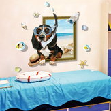 Miico Creative 3D Cartoon Summer Diving Dog Frame PVC Removable Home Room Decorative Wall Floor Decor Sticker
