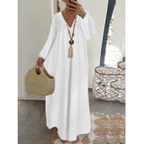 Lace Stitching V-neck Long Sleeve Elastic Cuffs Loose Casual Maxi Dress