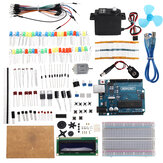 KW-AR-StartKit Kit with 17 Classes UNO R3 DC Motor Breadboard Components Set Geekcreit for Arduino - products that work with official Arduino boards