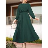 Kadın Düz Renk Elastik Bel Puf Kol Bağcıklı O-Boyun Uzun Kollu Maxi Elbise