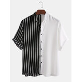 Mens Black and Stripes Patchwork Design Splicing Fashion Shirts