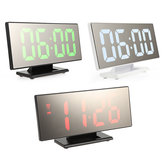 Loskii Digital Alarm Clock Mutifunction LED USB Charging Mirror Alarm Home Decor Desk Clock