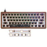 [Wooden Case Version] Geek Customized GK61 Hot Swappable 60% RGB Keyboard Customized Kit Wired bluetooth Dual Mode PCB Mounting Plate