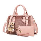 Women Two-piece Set Faux Leather Plush Designer Handbag