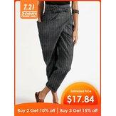 女性のためのカジュアルなジッパーストライプサイドポケットベルト不規則なハーレムパンツ