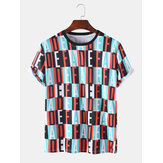 Mens Colorful Letter Print Plaid Short Sleeve Breathable Sport T-Shirts