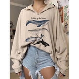 Women Variety Whale Print Loose Pullover Long Sleeve Sweatshirts