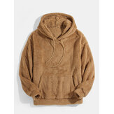 Mens Solid Color Kangaroo Pocket Plush Fluffy Soft Drawstring Hoodies